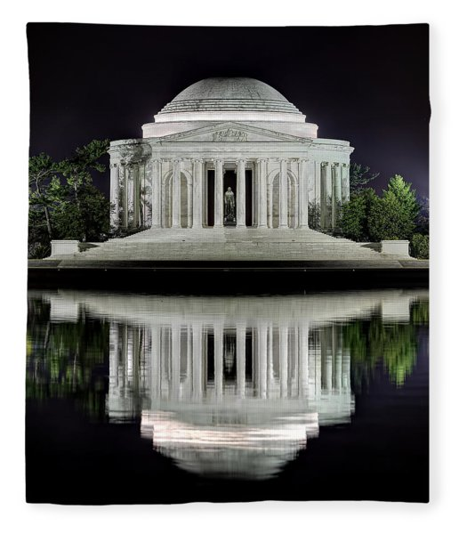 Jefferson Memorial - Night Reflection Fleece Blanket