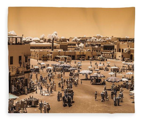Jemaa El Fna Market In Marrakech At Noon Fleece Blanket
