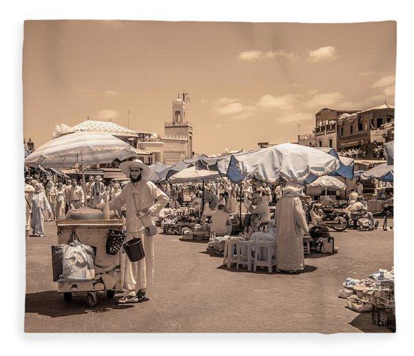 Jemaa El Fna Market In Marrakech Fleece Blanket