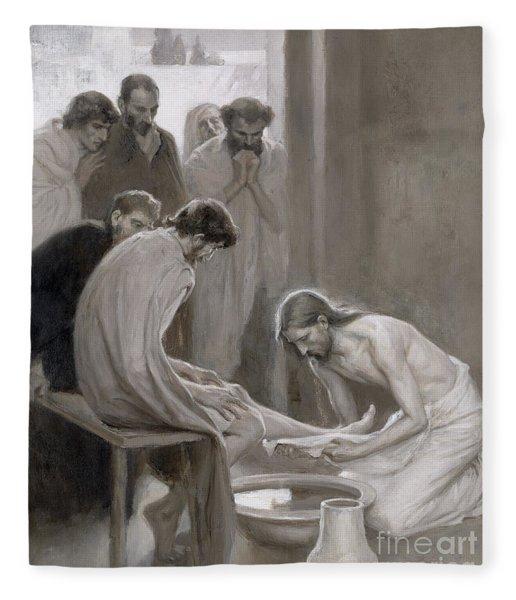 Jesus Washing The Feet Of His Disciples Fleece Blanket