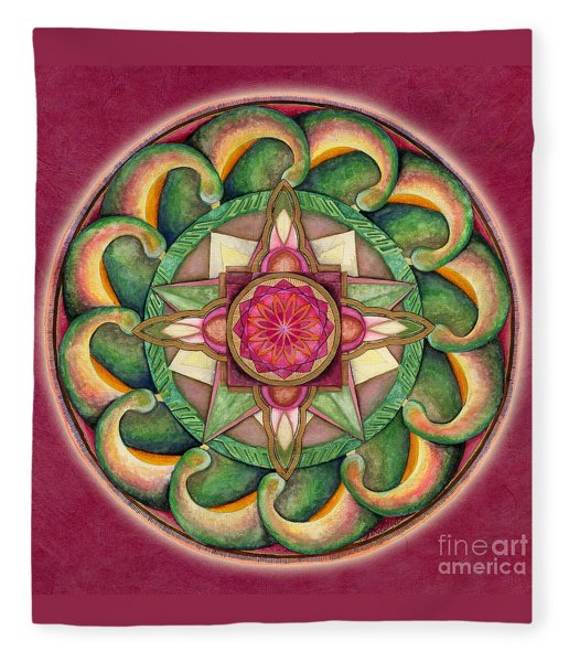 Jewel Of The Heart Mandala Fleece Blanket