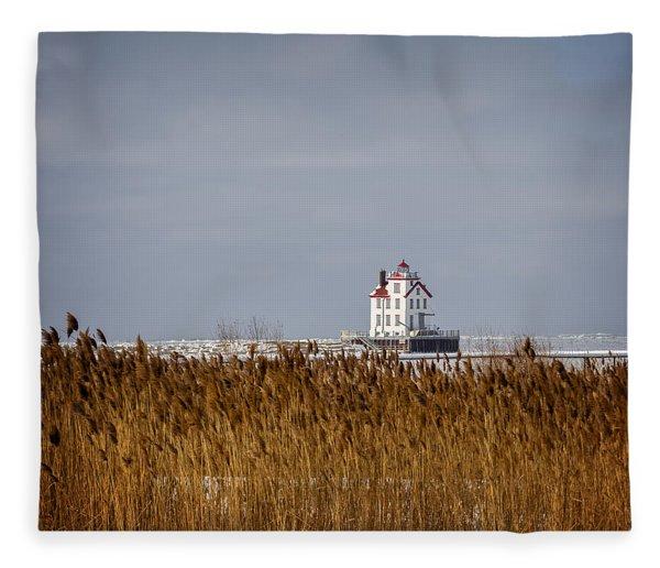 jewel of the Port Lorain Lighthouse Fleece Blanket