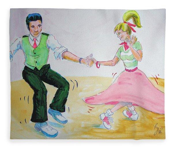 Jive Dancing Cartoon Fleece Blanket