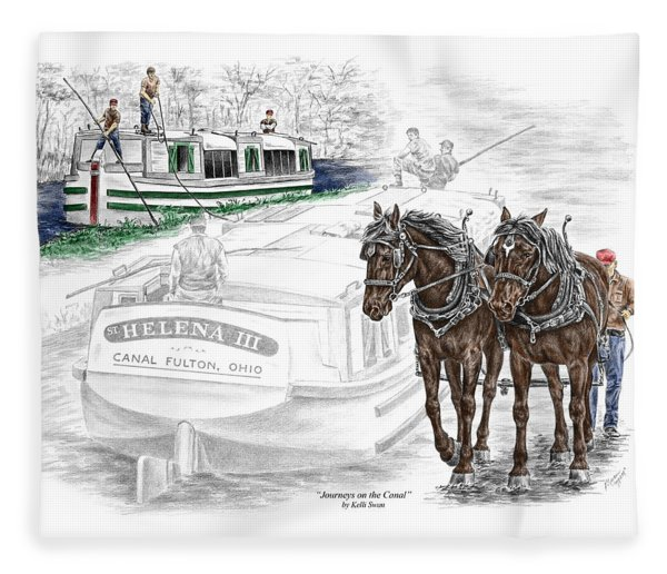 Journeys On The Canal - Canal Boat Print Color Tinted Fleece Blanket