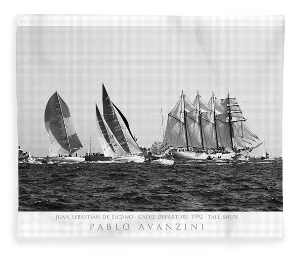 Juan Sebastian Elcano Departing The Port Of Cadiz Fleece Blanket