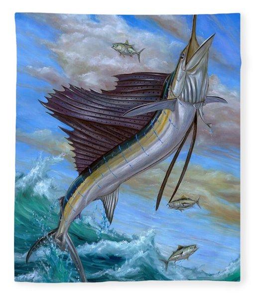 Jumping Sailfish Fleece Blanket