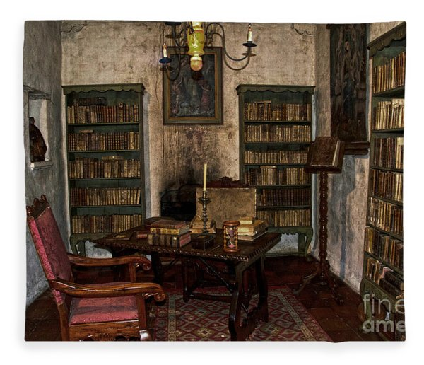 Junipero Serra's Library In Carmel Mission Fleece Blanket