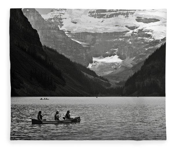 Kayak On Lake Louise Fleece Blanket