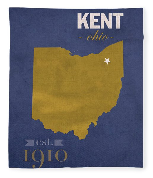 Kent State University Golden Flashes Kent Ohio College Town State Map Poster Series No 053 Fleece Blanket