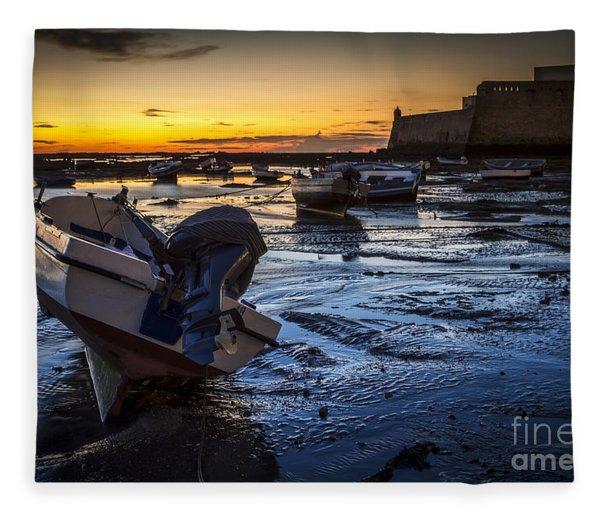 La Caleta Beach Cadiz Spain Fleece Blanket