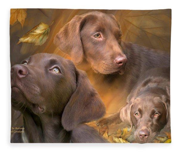 Lab In Autumn Fleece Blanket