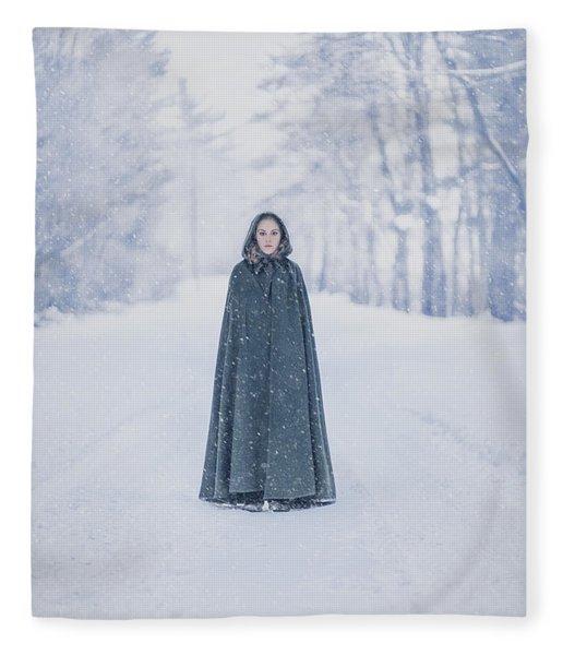 Lady Of The Winter Forest Fleece Blanket