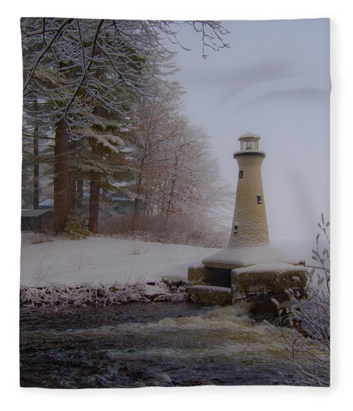 Lake Potanipo Lighthouse Fleece Blanket