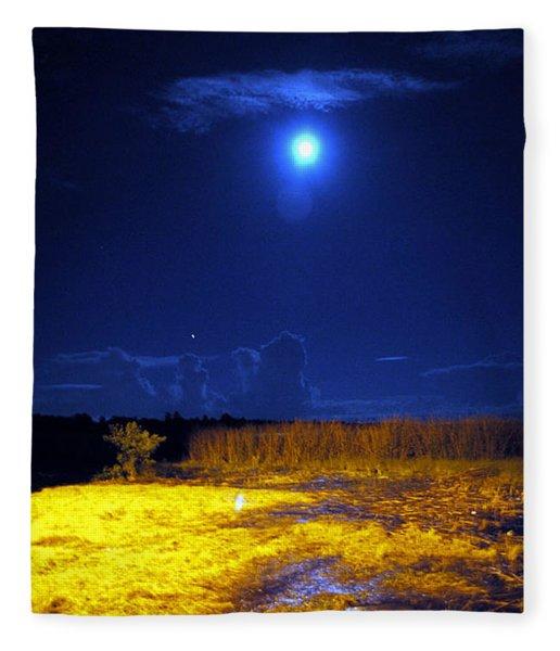 Moonrise Over Rochelle - Portrait Fleece Blanket