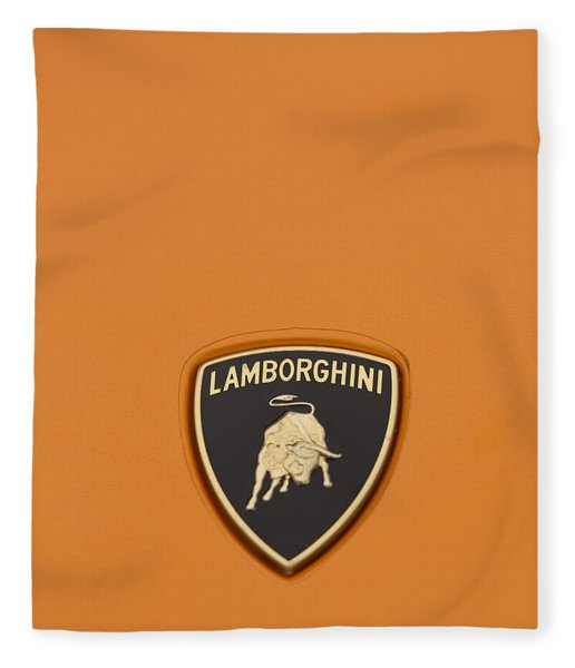 Lambo Hood Ornament Orange Fleece Blanket