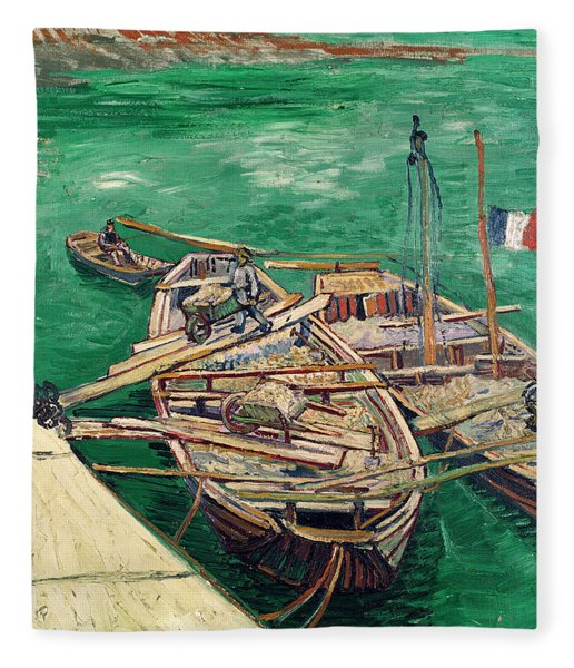 Landing Stage With Boats Fleece Blanket