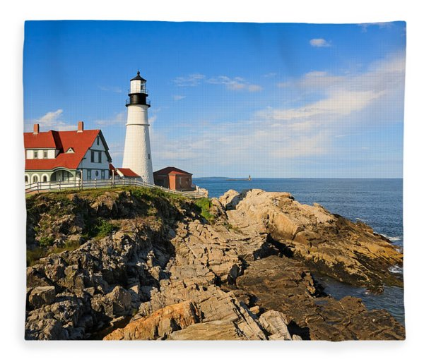 Lighthouse In The Sun Fleece Blanket