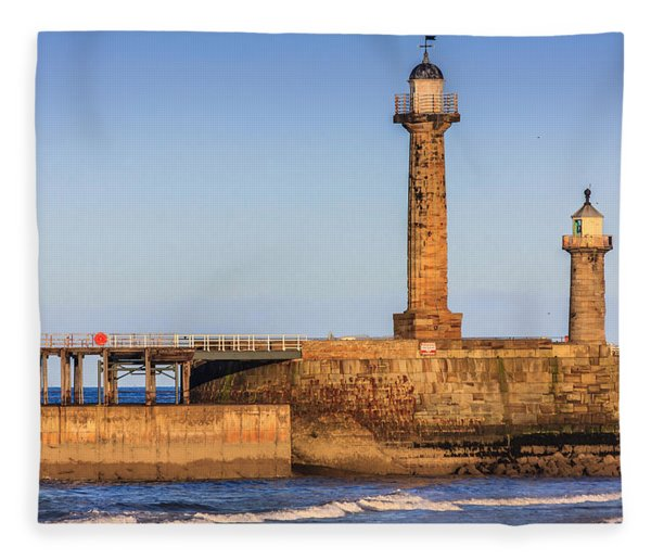 Lighthouses On The Piers Fleece Blanket
