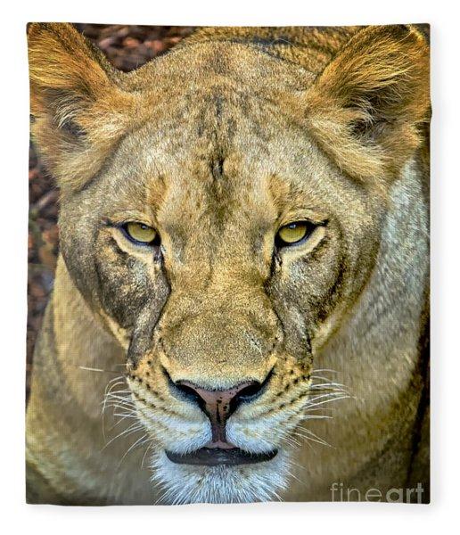 Lion Closeup Fleece Blanket