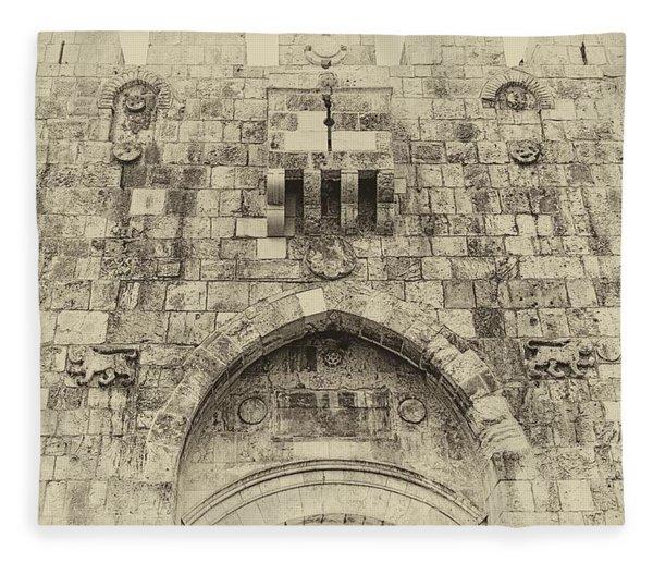 Lion Gate Jerusalem Old City Israel Fleece Blanket