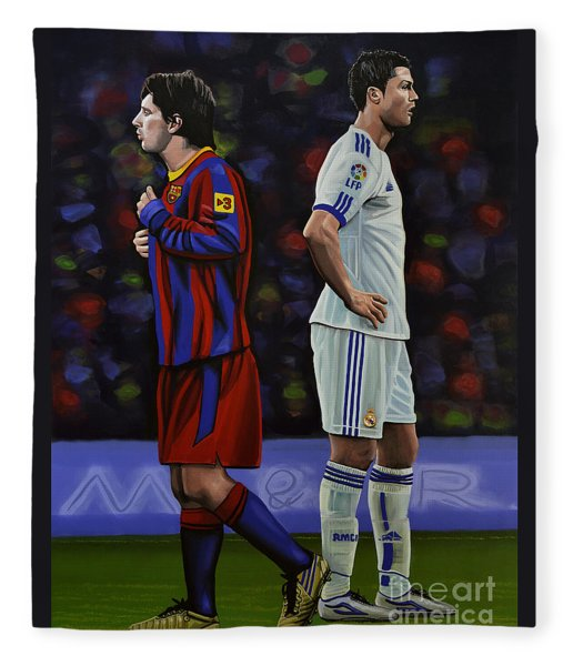 Lionel Messi And Cristiano Ronaldo Fleece Blanket