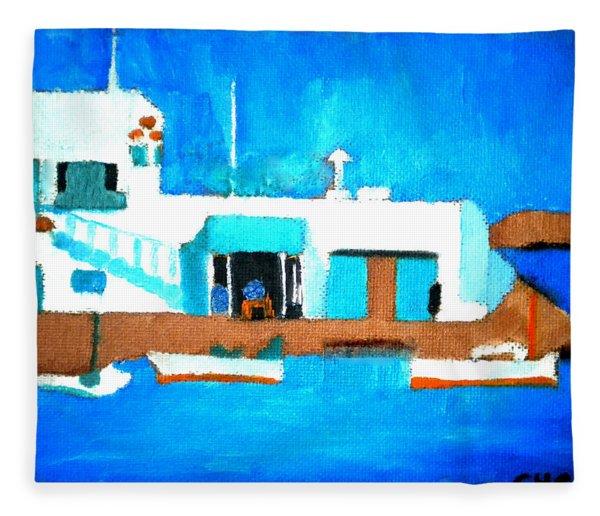 Fleece Blanket featuring the painting Paros  Cute Spot On Greek Island by Colette V Hera  Guggenheim