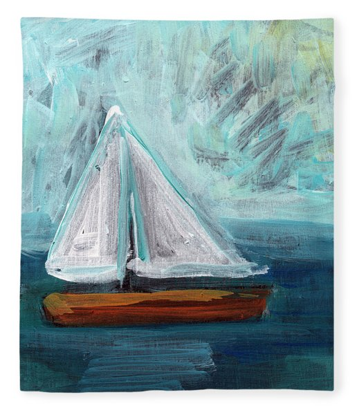 Little Sailboat- Expressionist Painting Fleece Blanket