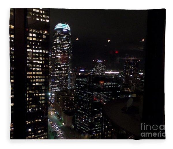 Los Angeles Nightscape Fleece Blanket