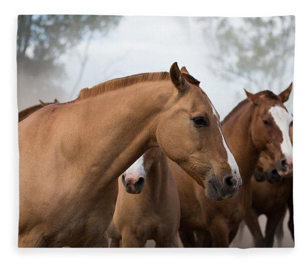 Los Caballos De La Estancia Fleece Blanket