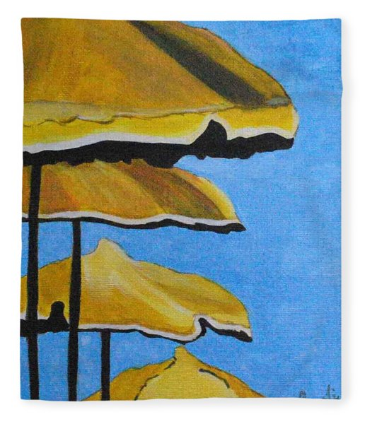 Lounging Under The Umbrellas On A Bright Sunny Day Fleece Blanket