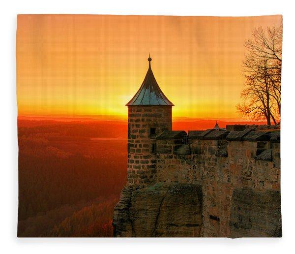 Low Sun On The Fortress Koenigstein Fleece Blanket