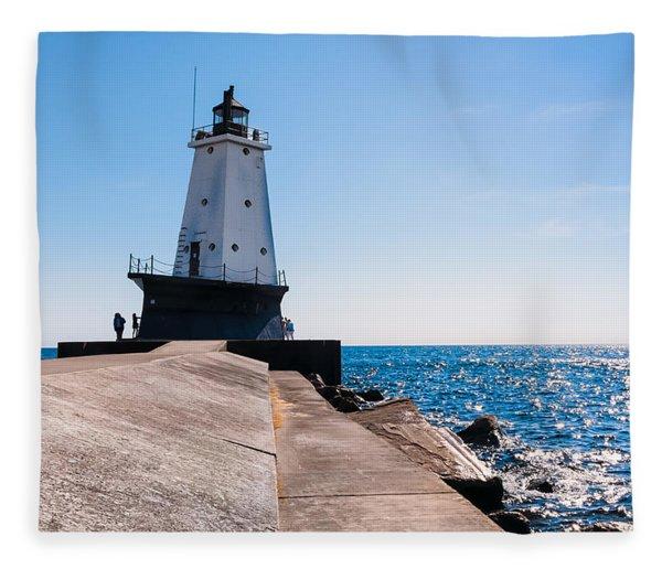 Ludington Lighthouse Fleece Blanket