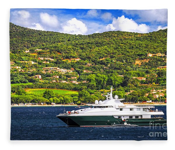 Luxury Yacht At The Coast Of French Riviera Fleece Blanket