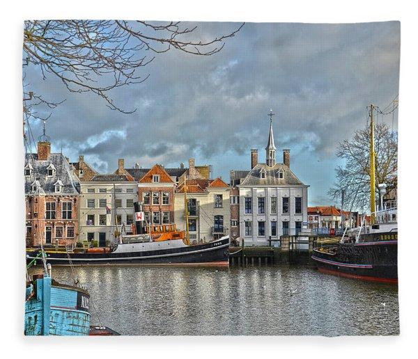 Maassluis Harbour Fleece Blanket