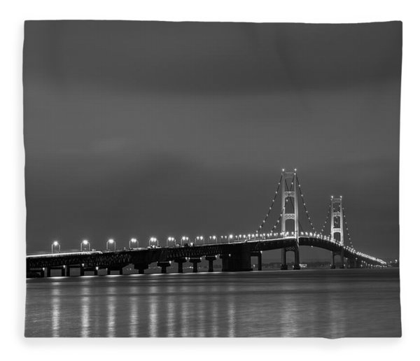 Mackinac Bridge Black And White Fleece Blanket