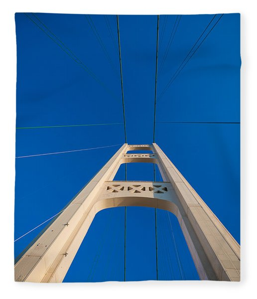 Mackinac Bridge South Tower Fleece Blanket