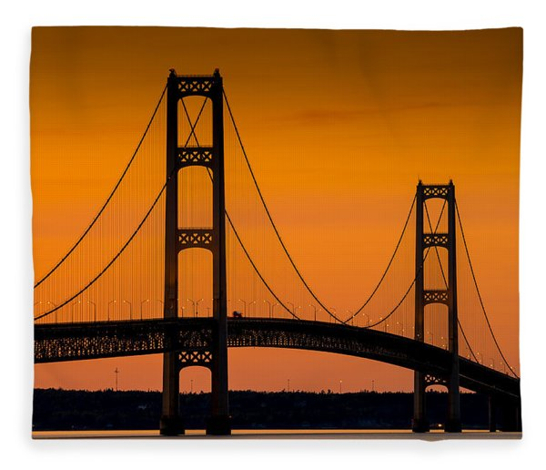Mackinac Bridge Sunset Fleece Blanket