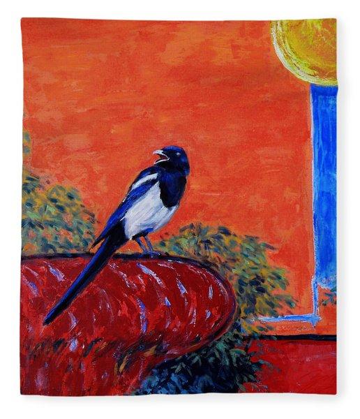 Magpie Singing At The Bath Fleece Blanket