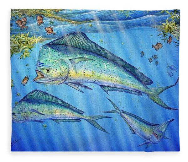 Mahi Mahi In Sargassum Fleece Blanket