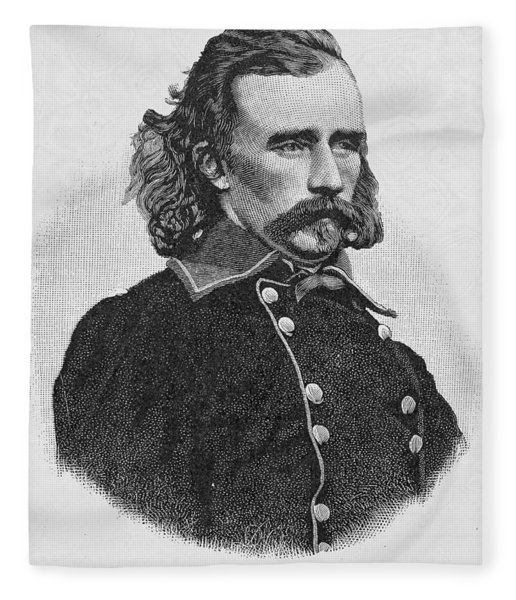 Major General George Armstrong Custer, Engraved From A Photograph, Illustration From Battles Fleece Blanket