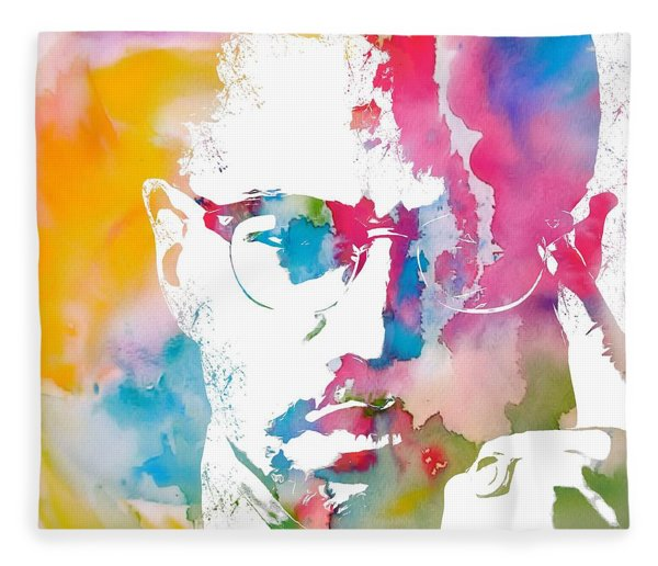 Malcolm X Watercolor Fleece Blanket