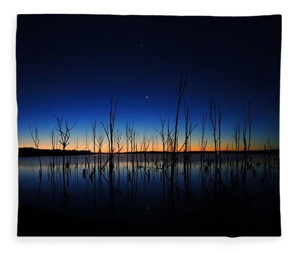 Fleece Blanket featuring the photograph Manasquan Reservoir At Dawn by Raymond Salani III