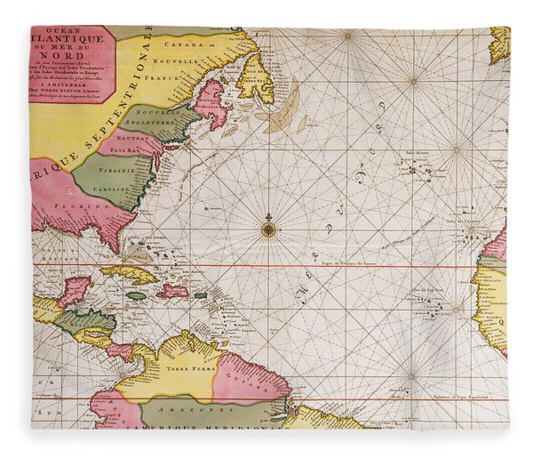 Map Of The Atlantic Ocean Showing The East Coast Of North America The Caribbean And Central America Fleece Blanket