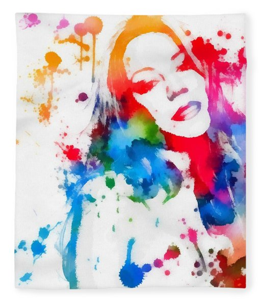 Mariah Carey Watercolor Paint Splatter Fleece Blanket