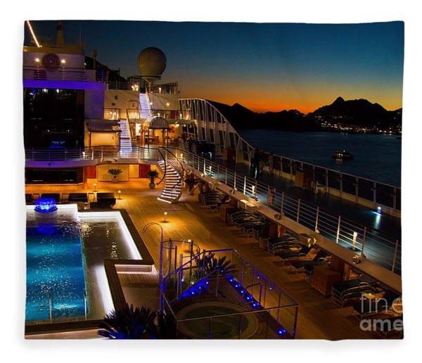 Marina Cruise Ship Pool Deck At Dusk Fleece Blanket