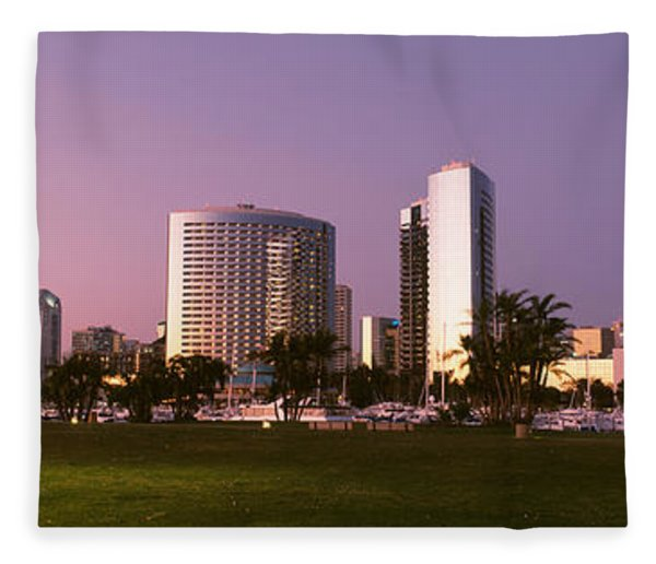 Marina Park And Skyline At Dusk, San Fleece Blanket