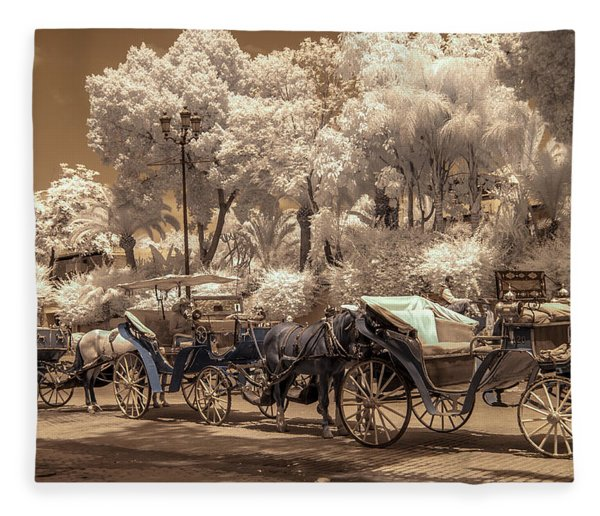 Marrakech Street Life - Horses Fleece Blanket