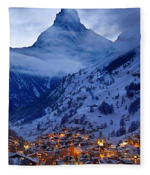 Fleece Blanket featuring the photograph Matterhorn At Twilight by Brian Jannsen