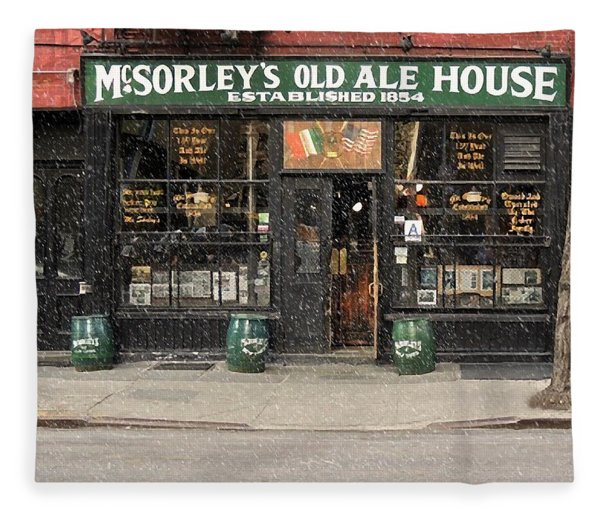 Mcsorley's Old Ale House During A Snow Storm Fleece Blanket