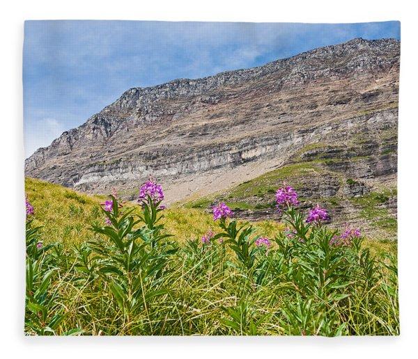 Meadow Of Fireweed Below The Continental Divide Fleece Blanket